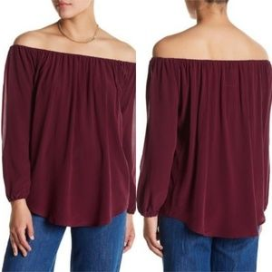 CHASER Off The Shoulder 100% silk Peasant Blouse